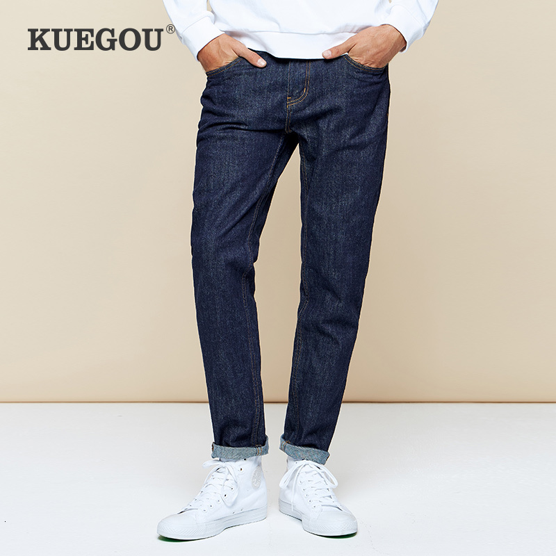 KUEGOU 2019 Autumn Cotton Blue Skinny Jeans Men Streetwear Brand Regular Fit Denim Pants For Male Classic Stretch Trousers 2989