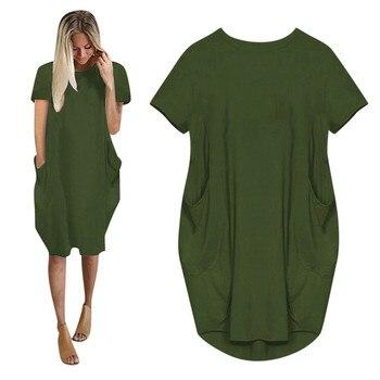 Women Casual Loose Dress With Pocket Ladies Fashion O Neck Long Tops Female T Shirt Dress Streetwear Plus Size 5xl Vestidos #SRN