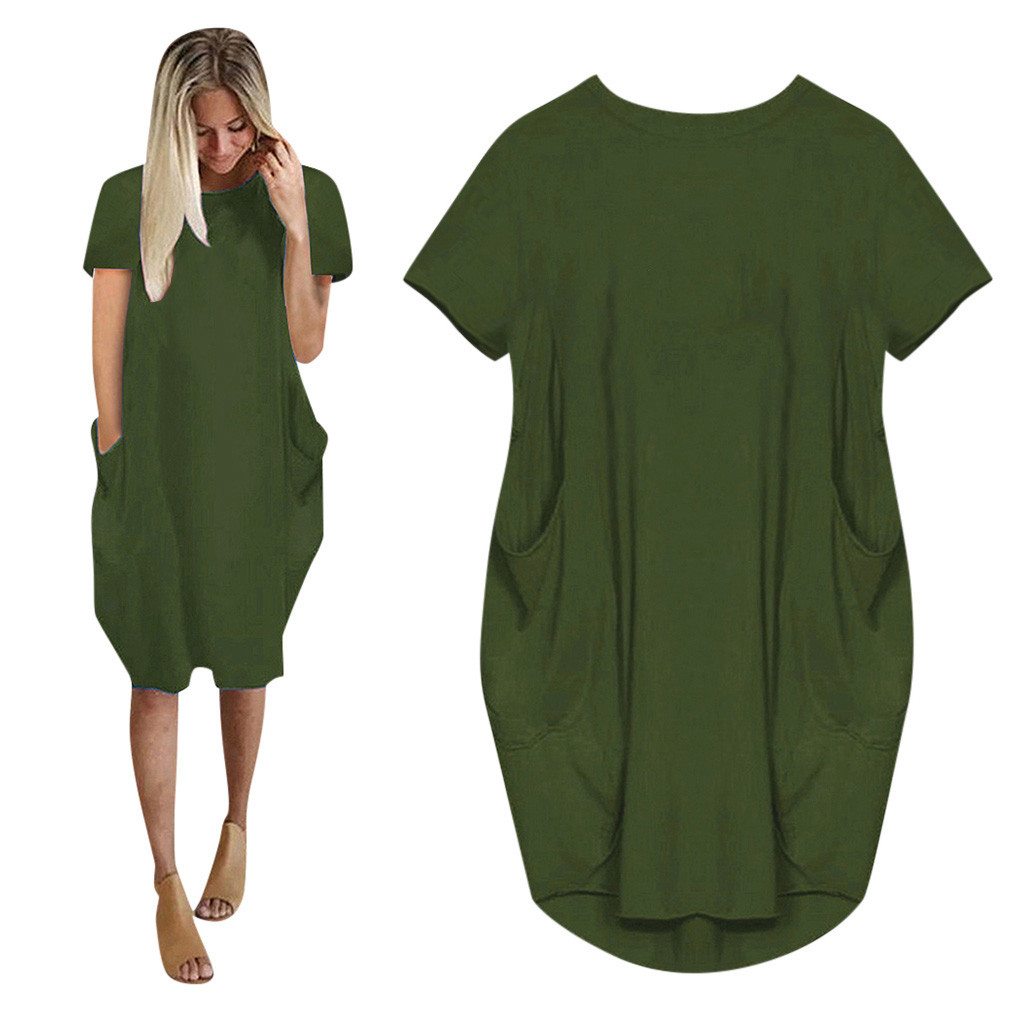 Dresses For Women Jumper Ladies Oversized Baggy Short Sleeve Summer Dress Pocket Pullover Woman Dress Vestidos