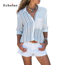 Women Casual Roll-up Sleeve Stripe Pocket Loose Shirt Top Blouse Elegant Long Sleeve Buttoned Pleated Back Street Chic Outwear недорого