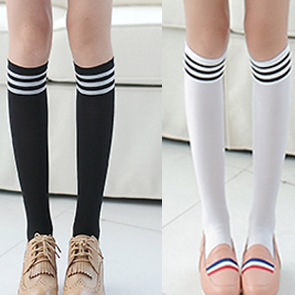 Women Girls Black White Striped Non-Slip Anti-Hem Fashion Thigh High Over Knee Socks Ladies Casual Students Socks Long Sock 2019