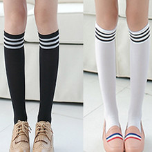 Women Girls Black White Striped Non-Slip Anti-Hem Fashion Thigh High Over Knee Socks Ladies Casual Students Socks Long Sock 2019 striped hem net socks