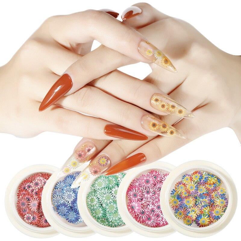 Пайетки для ногтей 12 цветов милые розовые мини Маргаритки Подсолнухи
