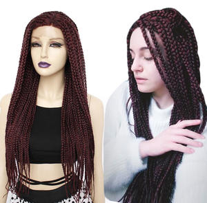 ANOGOL Wigs Braided Daily-Wear Afro Lace-Front Burgundy Black Synthetic Women Glueless