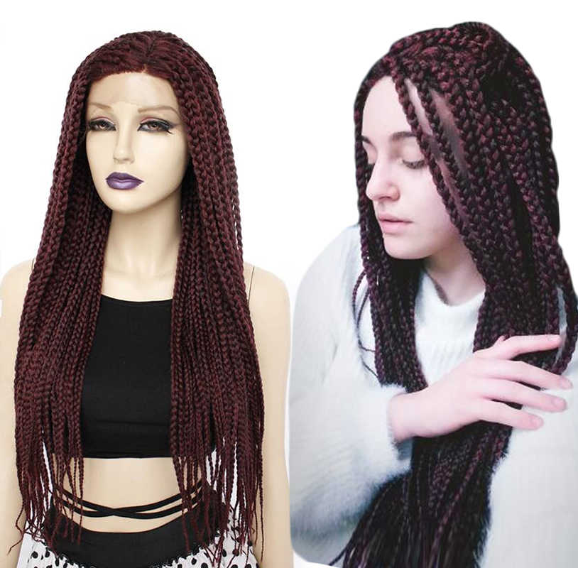 ANOGOL Long Burgundy Glueless Braided Synthetic Lace Front Wigs Twist  Braids For Afro Black Women Daily Wear
