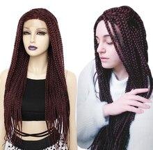 ANOGOLยาวBurgundy Glueless Braided Wigsด้านหน้าลูกไม้สังเคราะห์Twist BraidsสำหรับAfroสีดำผู้หญิงสวมใส่ทุกวัน