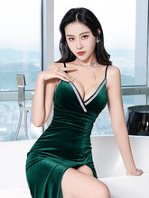 Сексуальное велюровое Клубное платье с v образным вырезом без