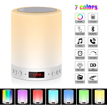 Night Light with Bluetooth Speaker Smart Portable Wireless Touch Multicolor Control Desk Table Lamp TF Card Color LED Luminaria