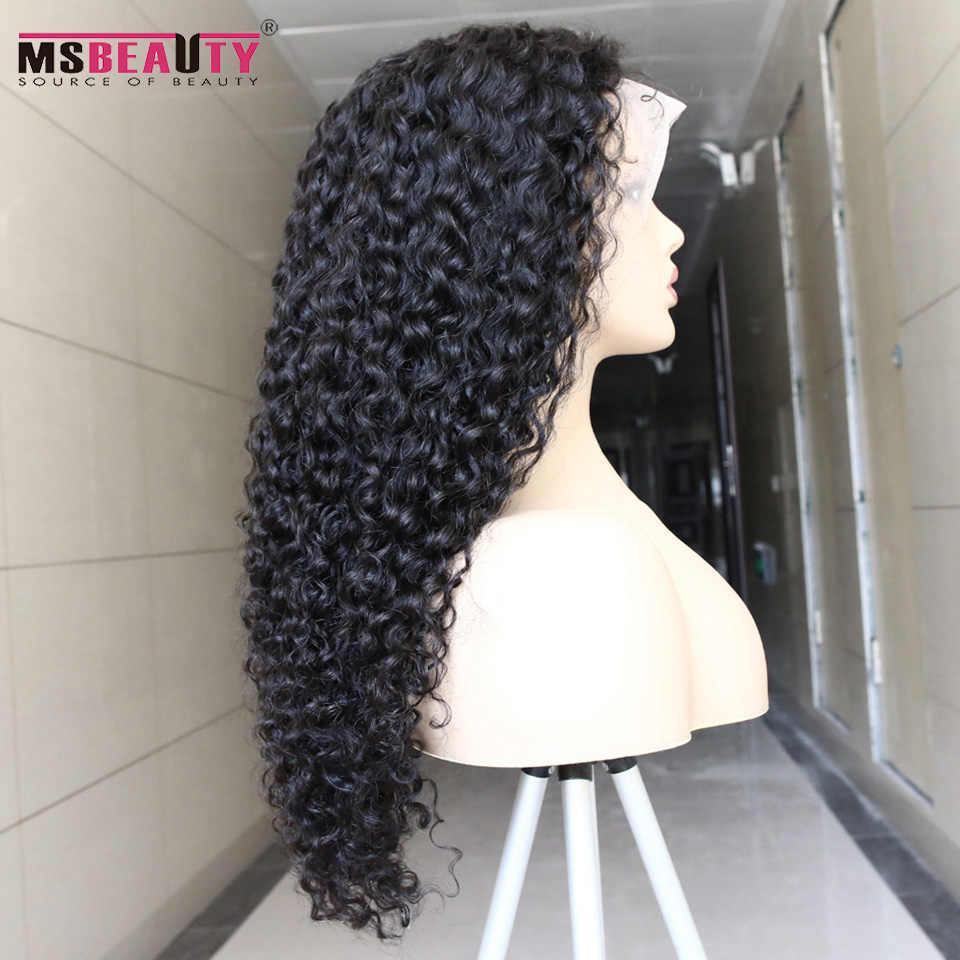 """Msbeauty 4*4 zamknięcie koronki peruka środkowy stosunek 10 """"-30"""" calowy brazylijski peruka z lokami Remy ludzki włos peruki wstępnie oskubane Natural Black 180%"""