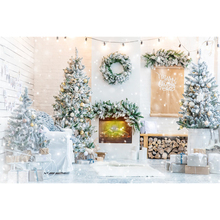 Christmas Tree Fireplace Photo Backdrop Merry Christmas Baby Children Portrait Phography Backgrounds For Home Decor Photo Studio