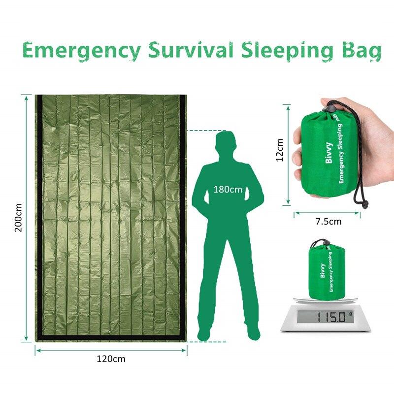 Sac de couchage thermique étanche d'urgence, couverture de survie pour camping, randonnées et activités de plein air 3