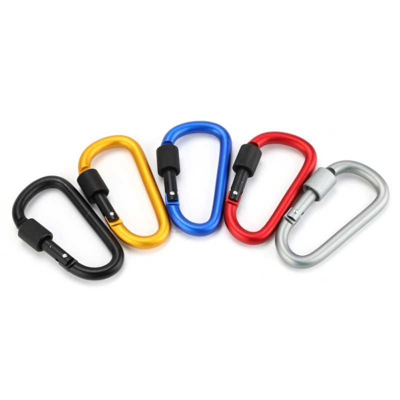 Алюминиевый карабин d-образное кольцо для ключей, зажим для кемпинга, брелок с винтовым замком, карабин с защелкой, крепкий карабин, инструмент для повседневного использования
