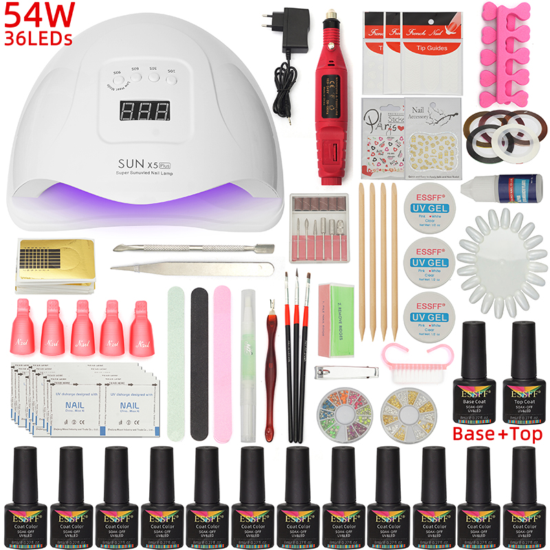 12 Colors Soak Off Gel Polish Nail Art Kits UV/LED Nail Lamp Dryer Electric Nail Drill Base/Top Coat Varnish Manicure Tools Set