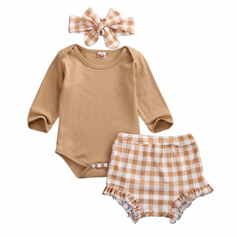 0-24M Autumn Newborn Infant Baby Girl Clothing Set Long Sleeve Solid Bodysuit Romper + Plaid Shorts Outfits