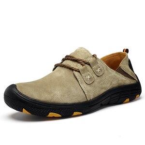 Image 4 - QZHSMY גברים של עור נעליים יומיומיות זכר מגפי לנשימה קשה ללבוש אביב סתיו סניקרס שטוח אור נעלי גדול גודל 38 48
