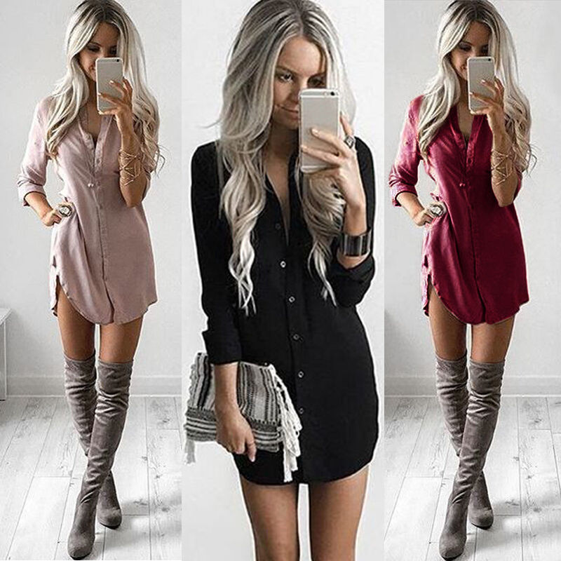 Hirigin Fashion Women Clothing Button Up Blouse Chiffon Long Sleeve Ladies Dresses Shirt Casual Loose Short Mini Dress Female