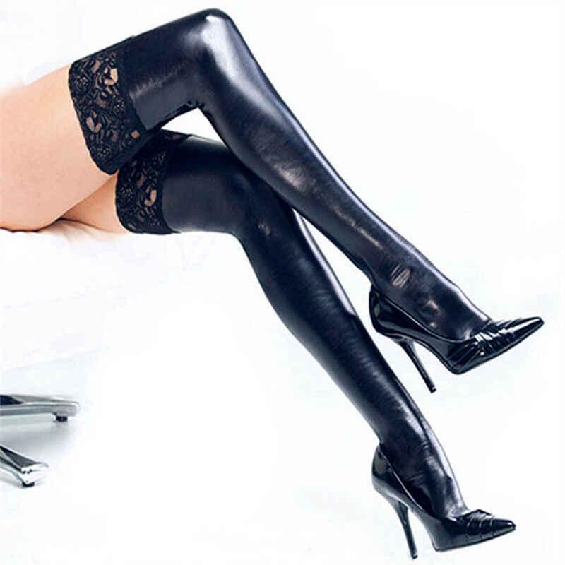 2019 แฟชั่นผู้หญิงหนัง PU ถุงน่องกว่าเข่าถุงเท้ายาวต้นขาสูงถุงน่องสีดำสีแดงเงินทองเซ็กซี่ถุงน่อง
