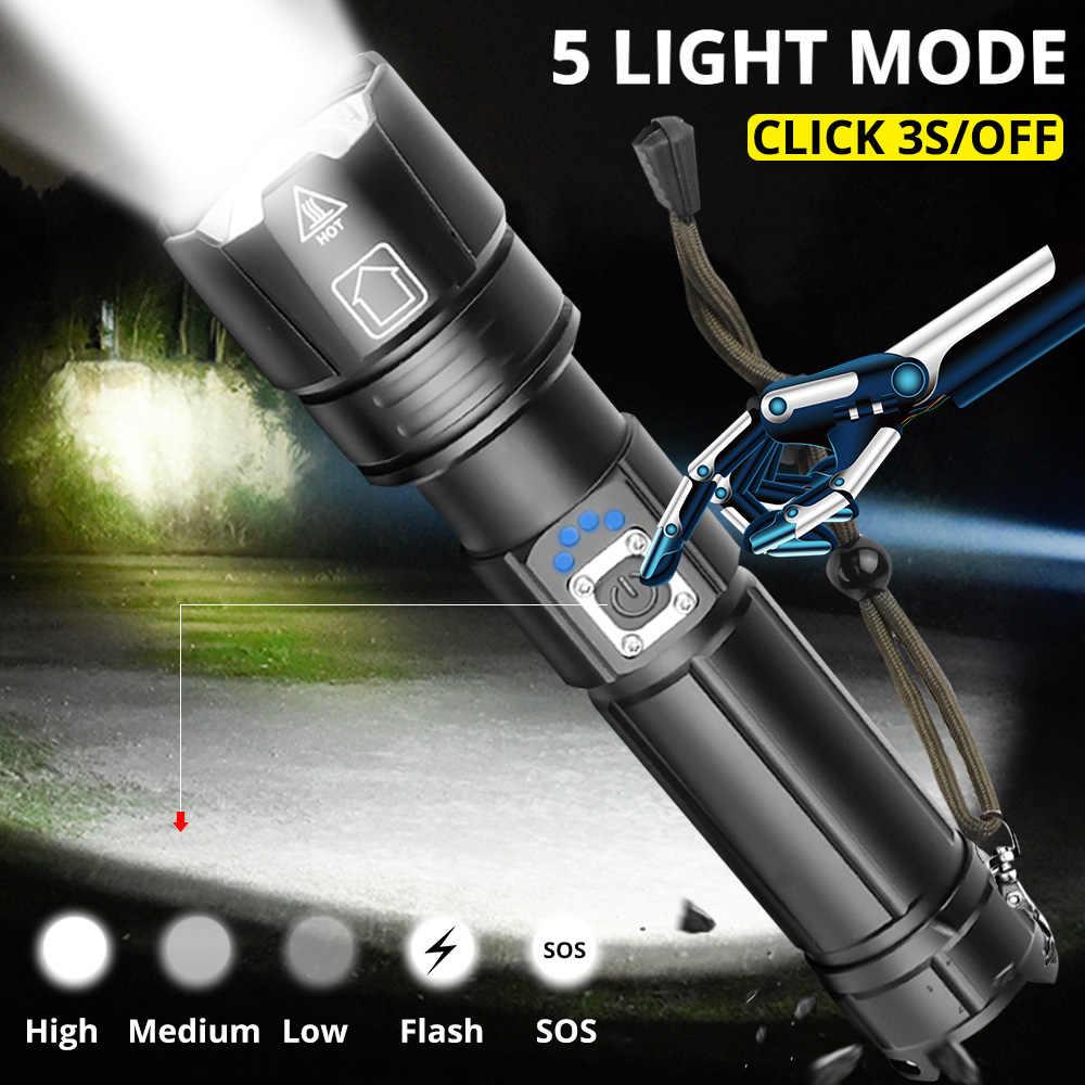 2020 هدية السنة الجديدة XHP90.2 فائقة قوية 18650 مصباح ليد جيب XLamp USB قابلة للشحن XHP70 التكتيكية ضوء 26650 التكبير مخيم الشعلة