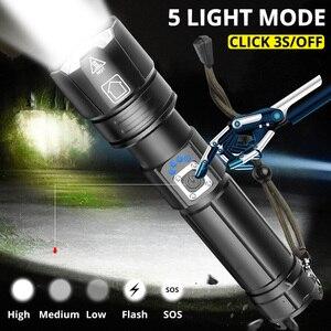 Image 3 - Taşınabilir Ultra güçlü XHP70 LED el feneri 18650 el feneri XLamp XHP50 USB şarj edilebilir taktik ışık 26650 yakınlaştırma meşale