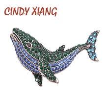 CINDY XIANG – broche baleine en strass, épingle de poisson, Vintage, nouveau Design, bijoux d'hiver, accessoires, bon cadeau
