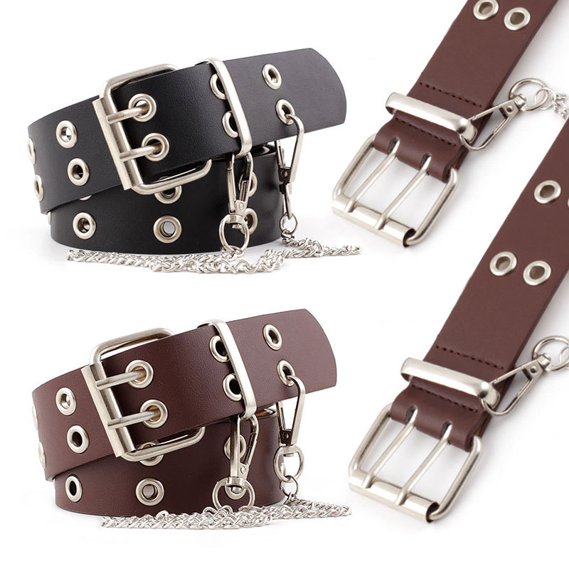 PU Leather Pin Buckle Belt New Punk Wind Jeans Fashion Individual Decorative Belt Chain Women Belt Waist Belt Men Leather Belt