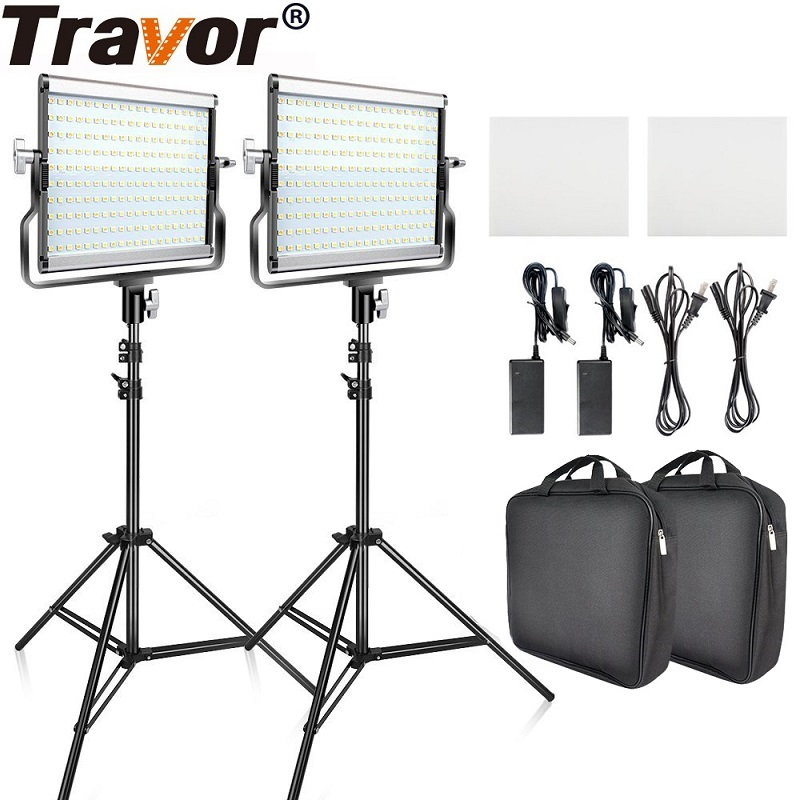 <font><b>L4500</b></font> 2 set Video Light With Tripod Dimmable 3200K 5600K Studio Photo Lamp LED Photography Lighting for Wedding News Interview image
