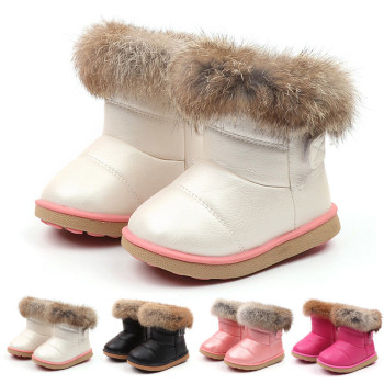 Winter First Walkers Snow Boots - Warm PU Leather Fleece