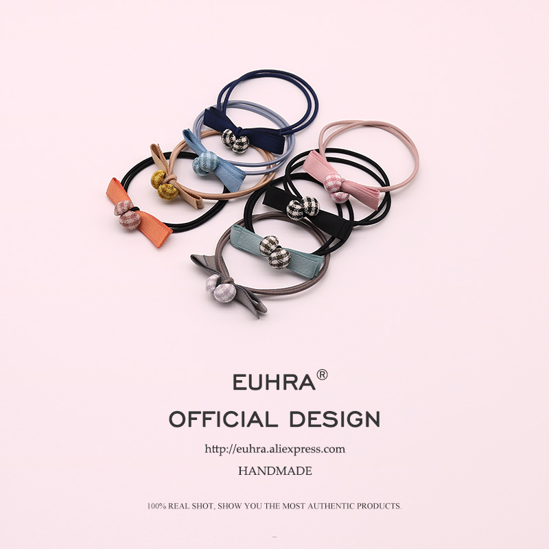 EUHRA 8 Colors Striped Elastic Korea Style Plaid And Cute Bow-Knot For Women Girls Hair Band Kid Children Rubber Band New Design