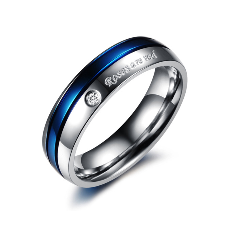 Steel color blue sweet ring with rhinestone titanium steel ring sweet romantic couple ring couple gift jewelry jewelry VR673 in Rings from Jewelry Accessories