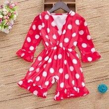 Весенне-летние комбинезоны в горошек с длинными рукавами для маленьких девочек; Детский комбинезон с оборками; Одежда для новорожденных