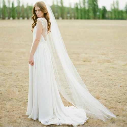 Cheap Waltz Veil Cut Edge White Long Bridal Veils One Layer Wedding Veils with Comb Vintage Bridal Wedding Party Veils