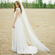 Barato valsa véu corte borda branco longo véus de noiva uma camada véus de casamento com pente véus de festa de casamento nupcial do vintage