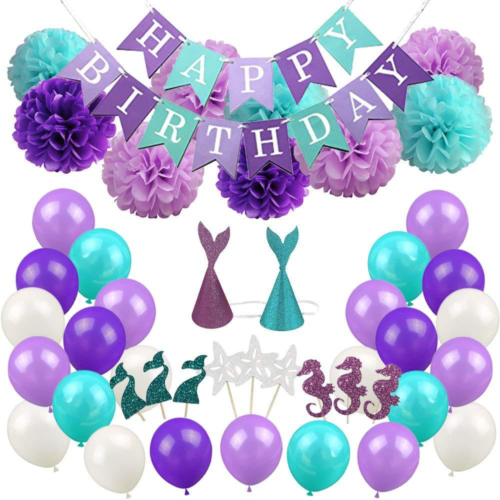 Baby Christmas Party Decorations Set Mermaid Theme Birthday Party Paper Balls, Balloons, Party Hats, Cake Flags Baby Gift