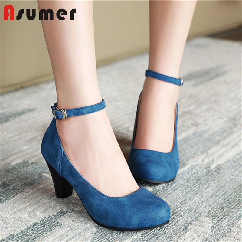 ASUMER 2020 Big Size 48 Women Pumps Round Toe Buckle Spring Summer Single Shoes High Heel Dress Shoes Ladies Office Shoes