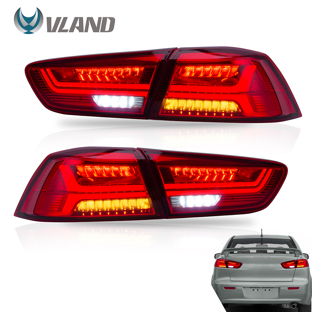 VLAND Tail lights Assembly for <font><b>Mitsubishi</b></font> <font><b>Lancer</b></font> EVO <font><b>X</b></font> 2008-2019 RED Tail Lamp Assembly with Sequential Turn Signal Full <font><b>LED</b></font> image