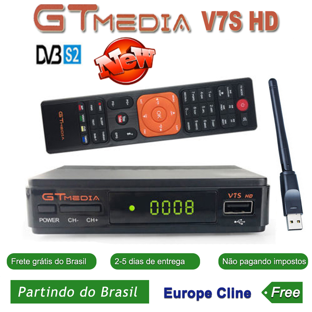 GTMedia V7S HD Satellite Receiver Full 1080P With USB WIFI H.264 DVB-S2 With Europe Spain CCCAM TV Decoder FREESAT V7 HD Brazil