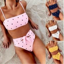 Two Piece Swimsuits For Women Little Love Heart Printed Bikini 2019 Sexy Tiny Sling Padded Swimwear Female Set