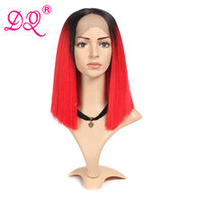 DQ Straight Synthetic Lace Front Wig Cosplay Wig Short Bob