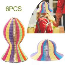 Unisex 6Pcs Summer Women Children Magic Honeycomb Paper Vase Hats Contrast Rainbow Colored Travel Folding DIY Sun Cap(China)