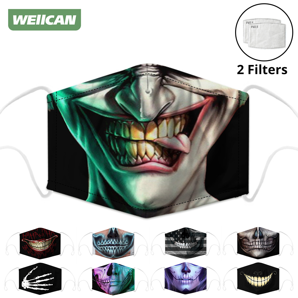 Respirator Face Masks Mouth Caps Men Women Activated Carbon Filter Digital Printing Dust Protective Mask Reusable Face Shield