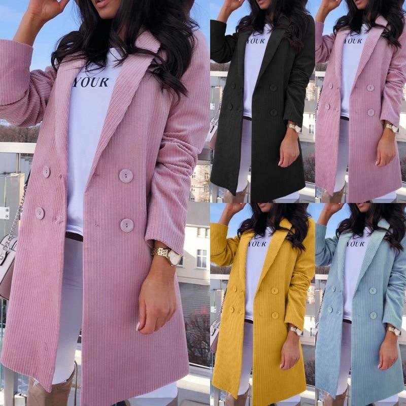 Fashion Slim Pink Yellow Blazer Jacket Womens Coat Long Sleeve Elegant Double Breasted Clothes Jacket Coat Female Lady Plus Size