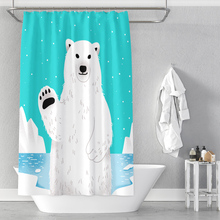 Say hello to polar bear shower curtains, punch-free waterproof digital printing can be customized say hello