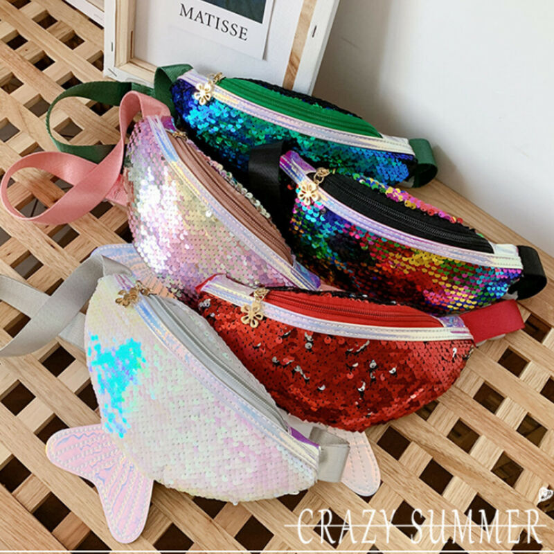 2020 Fashion Women Lady Mermaid Sequins Waist Bag For Kids Children Girl Pack Belt Travel Hip Bum Bag Small Purse Chest Pouch