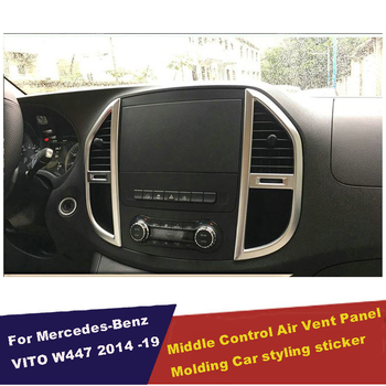 UBLUEE Accessories For Mercedes-Benz Vito W447 2014 2016 2017 ABS Middle Control Air Conditioning Panel Molding Cover Kit Trim