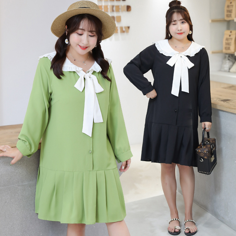 Large GIRL'S Large Size Dress 2019 Autumn New Style French Mid-length Peter Pan Collar Dress Avocado Green Y098