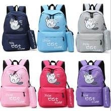 Colorful Cute Anime Neko Atsume Cartoon Kawaii Back Pack Schoolbag& Pencil Bag Student Travel Knapsack Shoulder Bags Collection(China)