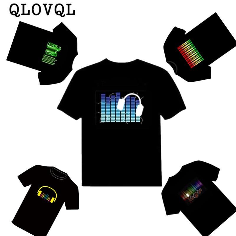 Светодиодная детская футболка для мальчиков и девочек, праздничная светящаяся футболка со светодиодной подсветильник кой и активацией зву...