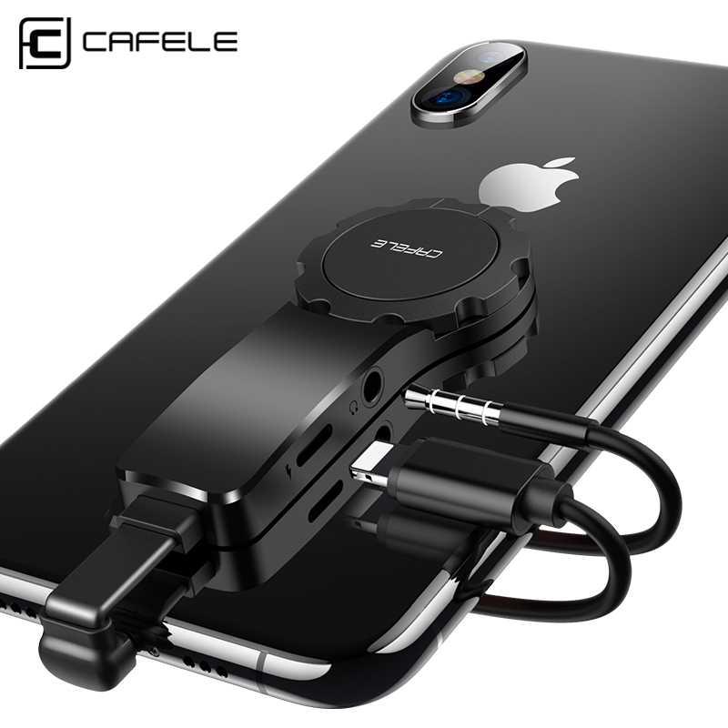 CAFELE 2in1 USB Adapter For IPhone  3.5mm Audio Adapter Fast Charging Adjustable Ring For IOS