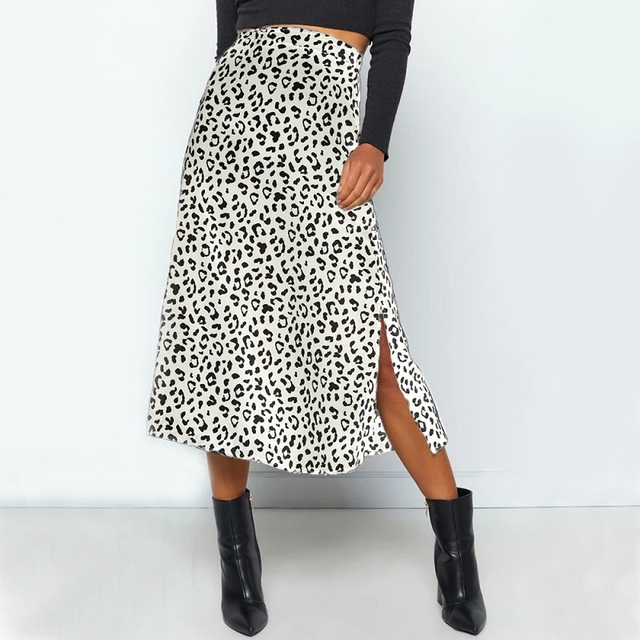 Summer women vintage elegant beach midi boho skirt 2021 Women Leopard print split sexy zip skirts womens Casual skirts female 1