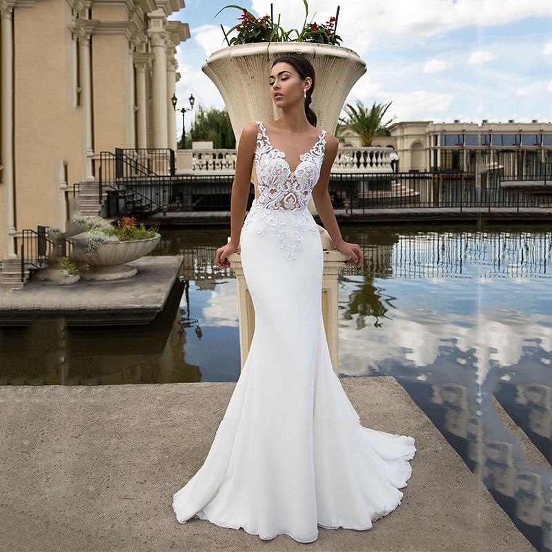 Beach White Lace Wedding Dresses Wedding Dresses Illusion Back Simple Wedding Dress Plus Size Bridal Gowns Vestido De Noiva